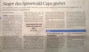 Zeitungsartikel der Lausitzer Rundschau vom 29.11.2017 über die Siegerehrung zum Spreewaldcup