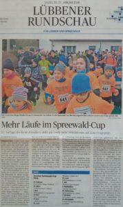 Lübbener Rundschau vom 20./21.Januar 2018 berichtete von mehr Läufe beim Spreewaldcup