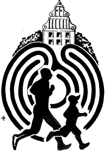 Schloßinsellauf Logo Schwarz Weiß