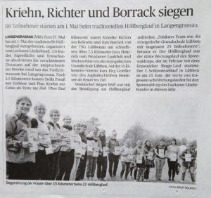Artikel der Zeitung Lausitzer Rundschau vom 04.05.2019