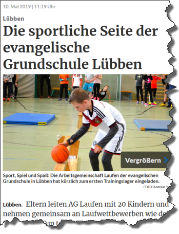 Artikel der Lausitzer Rundschau Online vom 10.05.2019 zur sportlichen Seite der Evangelischen Grundschule in Lübben