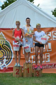 Foto Siegerehrung 10km Frauen des 2. Schlossinsellaufs 2019 in Lübben auf der Schlossinsel