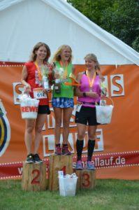 Foto Siegerehrung Halbmarathon Frauen des 2. Schlossinsellaufs 2019 in Lübben auf der Schlossinsel