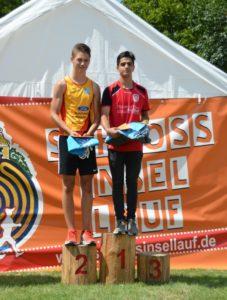 Foto Siegerehrung U18 Männer des 2. Schlossinsellaufs 2019 in Lübben auf der Schlossinsel