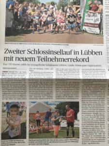Zeitungsartikel der Lausitzer Rundschau zum 2. Schlossinsellauf
