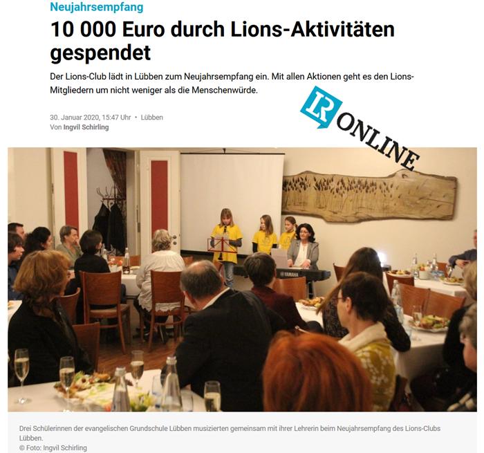 Pressemitteilung Lausitzer Rundschau vom 30.01.2020